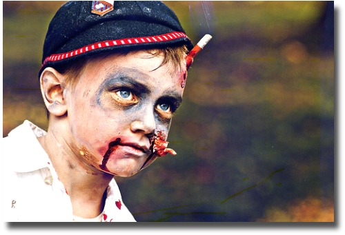 Zombie kid in costume for the Melbourne Zombie Shuffle, Melbourne Australia, compliments of http://www.flickr.com/photos/fernando/6498293603/