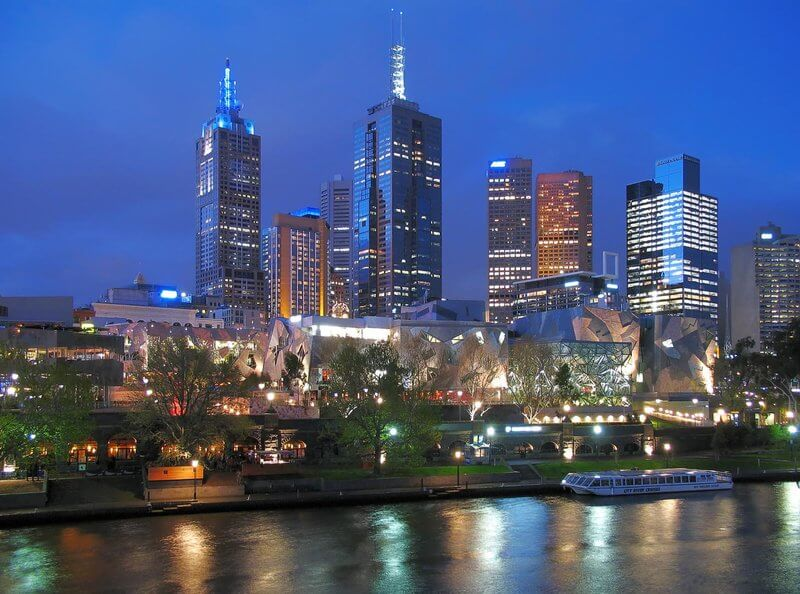 Melbourne Australia night skylight taken from the banks of the Yarra River