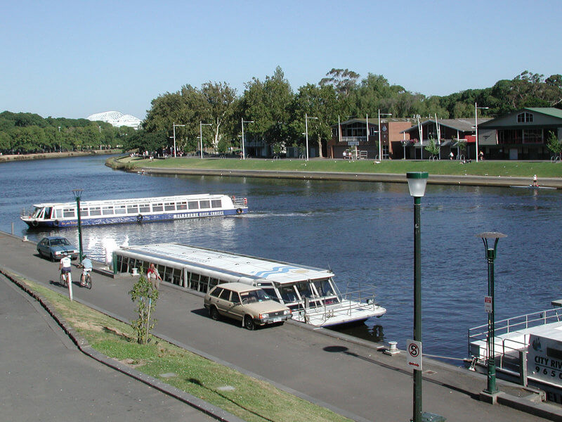 Riverboat touring the Yarra River. This is the embarkation point at the bottom of Princes Bridge