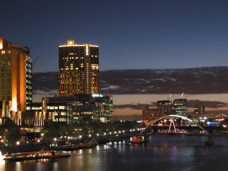 Melbourne night sky with riverboat cruiser docked at Southbank, Melbourne Australia