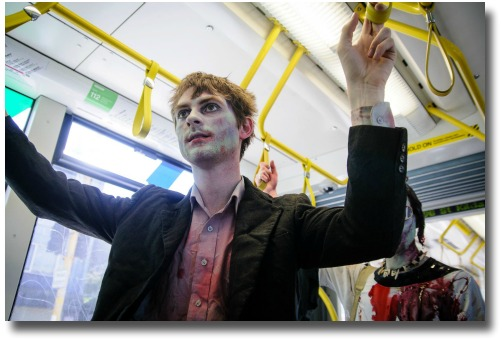 2012 Zombies on Melbourne Australia public transport compliments of Liz Nigol