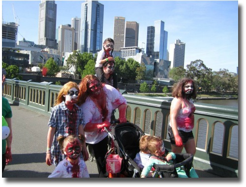 Zombie family strolling Melbourne, Australia compliments of Olivia Moffat